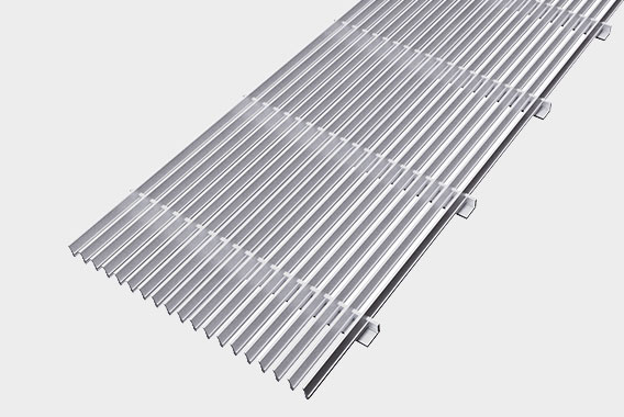 Arbonia Ascotherm eco trench-convectors - top grille, anodised in natural colour
