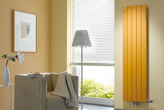 Arbonia Decotherm Plus Radiators, vertical, sunny day yellow