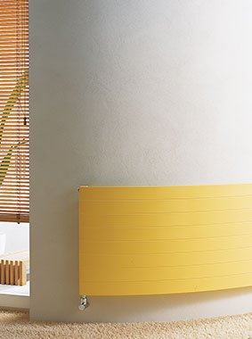 Arbonia Heating Panel, horizontal, curved, yellow